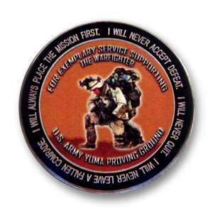 Army Challenge Coin - 2 inch, Antique Silver with photographic printing and epoxy