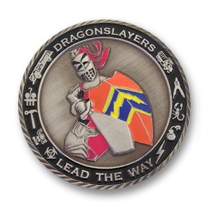 Luke Air Force Base Air Force Challenge Coin - 1.56 inch, Antique Silver with a Twist diamond cut edge
