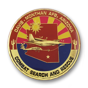 Davis Monthan Air Force Base Challenge Coin - 1.75 inch, Antique Bronze with a Flat diamond cut edge and epoxy