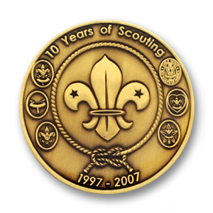 Boy Scout Commemorative Coin - 1.75 inch, Antique Bronze with epoxy