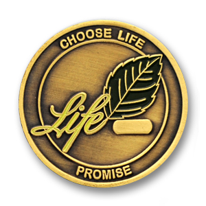 Choose Life Commemorative Coin - 1.56 inch, Antique Bronze with numbering block